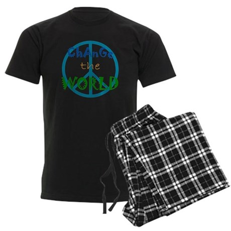 Change The World Peace Sign Men's Dark Pajamas