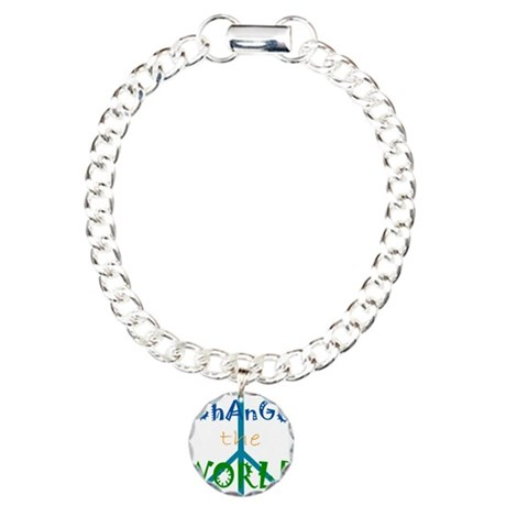 Change The World Peace Sign Charm Bracelet, One Ch