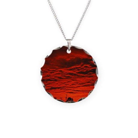 Delta Fiery Sunrise Necklace Circle Charm