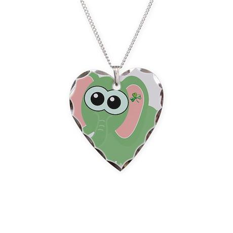 Cute St. Patty's Day Irish El Necklace Heart Charm