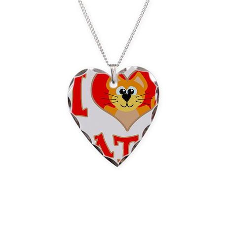 I Love (heart) Cats Necklace Heart Charm