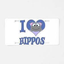 I Love (Heart) Hippos Aluminum License Plate