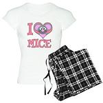 I Love (Heart) Mice Women's Light Pajamas