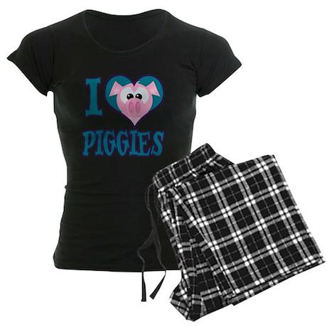 I Love (Heart) Piggies (Pigs) Women's Dark Pajamas