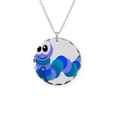 Blue Awareness Ribbon Goofkin Necklace Circle Char