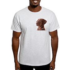 "Vizsla head shot of ""Tru"" Ash Grey T-Shirt"