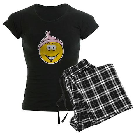 Funny Condom Head Smiley Women's Dark Pajamas