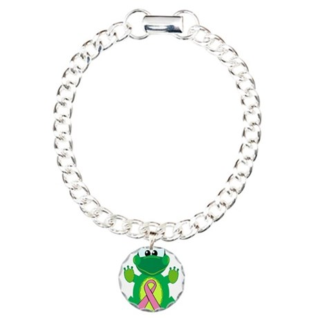 Pink Awareness Ribbon Frog Charm Bracelet, One Cha