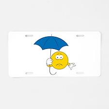 Umbrella Sad Smiley Face Aluminum License Plate