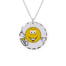 Smiley Face With Scissors Necklace