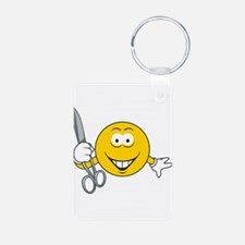 Smiley Face With Scissors Keychains