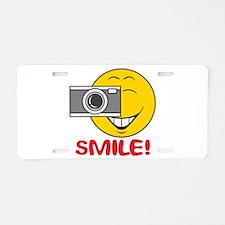 Photographer Smiley Face Aluminum License Plate