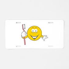 Dentist/Toothbrush Smiley Fac Aluminum License Pla