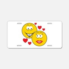 Smiley Faces in Love Aluminum License Plate
