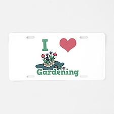 I Love (Heart) Gardening Aluminum License Plate