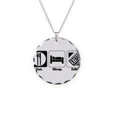 Eat. Sleep. Edit. (Newspaper Necklace Circle Charm