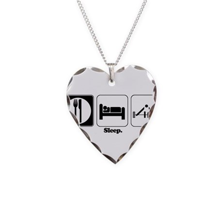 Eat. Sleep. Lift. (Weight Lif Necklace Heart Charm