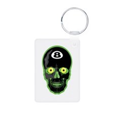 Green Eight Ball Skull Keychains