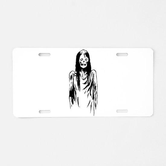 Creepy Zombie Girl Aluminum License Plate