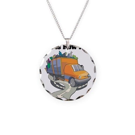 How I Roll (Garbage Truck) Necklace Circle Charm