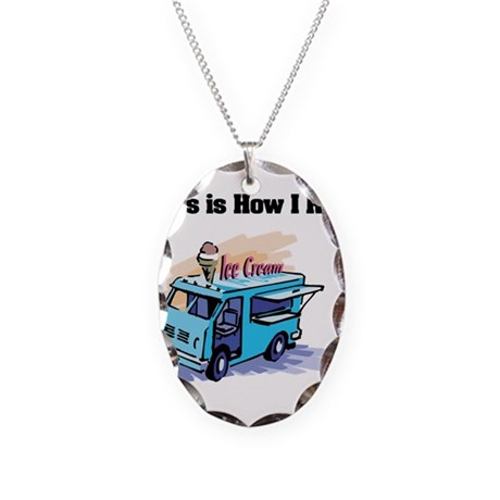 How I Roll (Ice Cream Truck) Necklace Oval Charm