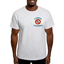CRIME CRUSHER Ash Grey T-Shirt