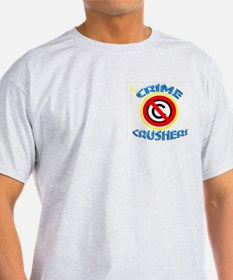 CRIME CRUSHER Ash Grey T-Shirt