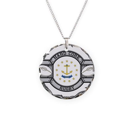 Rhode Island Rugby Necklace Circle Charm