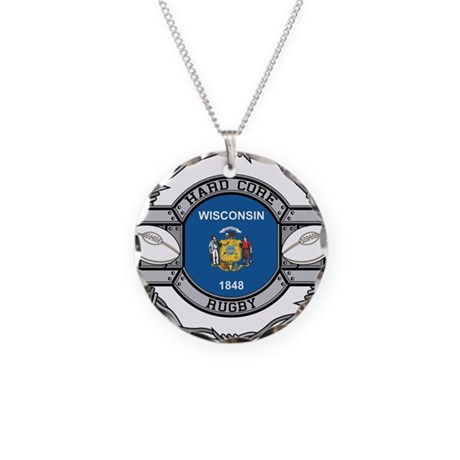 Wisconsin Rugby Necklace Circle Charm