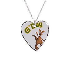 G'Day Australian Kangaroo Necklace Heart Charm