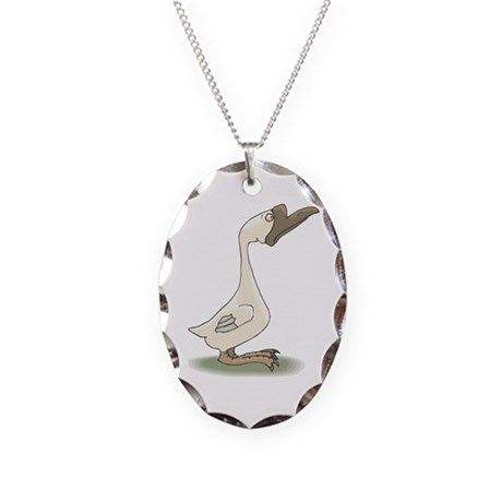 Silly White Goose Necklace Oval Charm