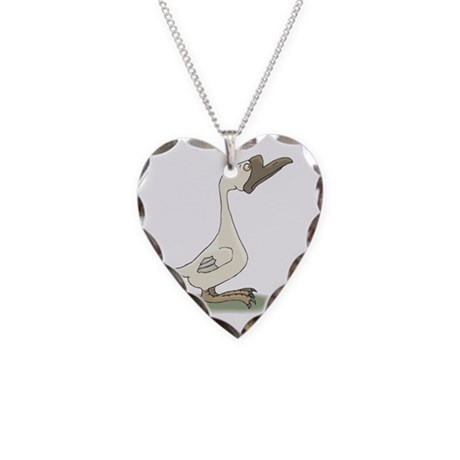 Silly White Goose Necklace Heart Charm