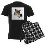 Funny Wolf Face Men's Dark Pajamas