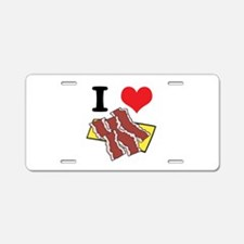 I Heart (Love) Bacon Aluminum License Plate