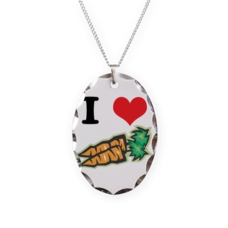 I Heart (Love) Carrots Necklace Oval Charm