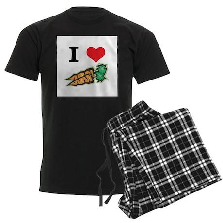 I Heart (Love) Carrots Men's Dark Pajamas