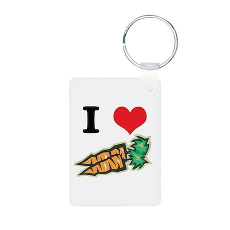 I Heart (Love) Carrots Aluminum Photo Keychain