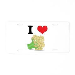 I Heart (Love) Cauliflower Aluminum License Plate