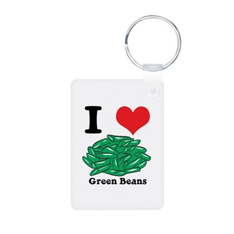 I Heart (Love) Green Beans Aluminum Photo Keychain