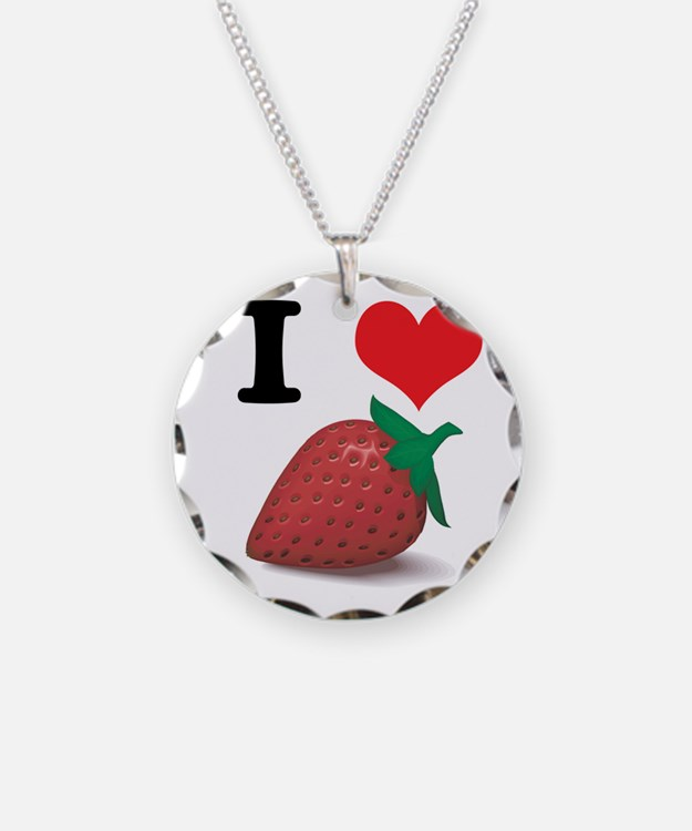 I Heart (Love) Strawberries Necklace