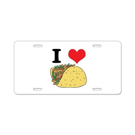 I Heart (Love) Tacos Aluminum License Plate