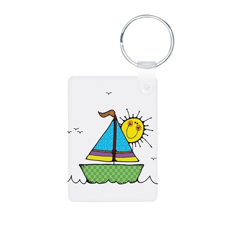 Cute Sail Boat and Sun Aluminum Photo Keychain