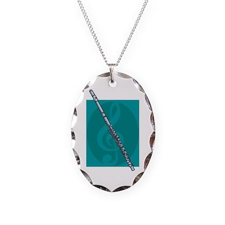 Flute Design Necklace Oval Charm