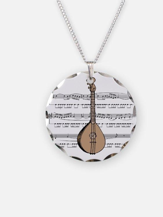 Mandolin and Sheet Music Desi Necklace Circle Char