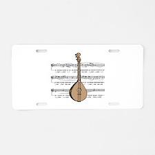 Mandolin and Sheet Music Desi Aluminum License Pla