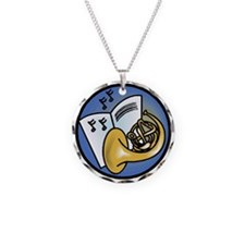 Tuba and Sheet Music Circle D Necklace