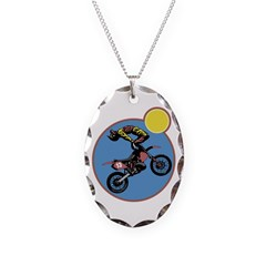 Dirt Bike Stunt Design Necklace Oval Charm