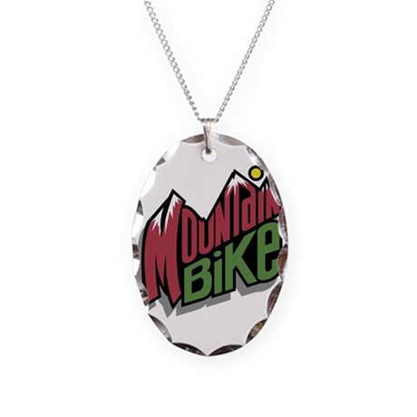 Mountain Bike Graphic Necklace Oval Charm
