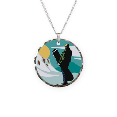 Snow Boarder Circle Design Necklace Circle Charm