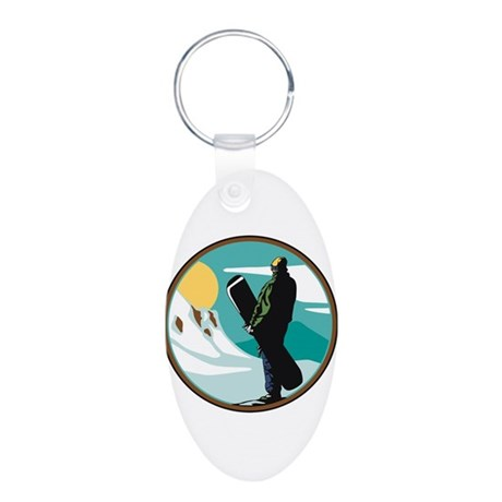 Snow Boarder Circle Design Aluminum Oval Keychain